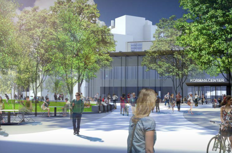 Rendering of glass facade of Korman Center